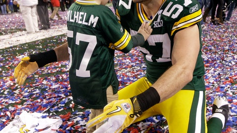 Matt Wilhelm and his son Mason (Super Bowl XLV)