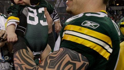 Tom Crabtree and son Bryce Thomas (Super Bowl XLV)