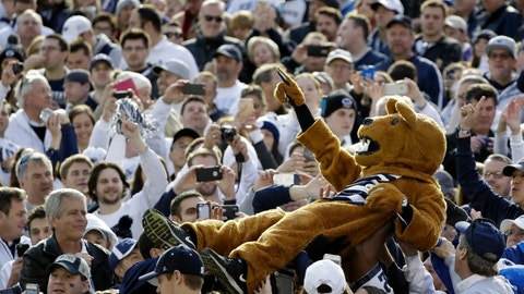 The Nittany Lion goes crowd surfing