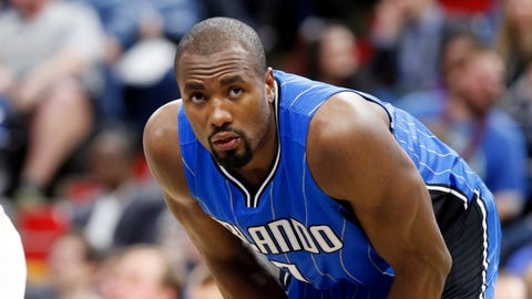 Orlando Magic's Serge Ibaka of Republic of Congo plays against the Minnesota Timberwolves during the second half of an NBA basketball game Monday, Jan. 30, 2017, in Minneapolis. (AP Photo/Jim Mone)