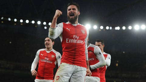 LONDON, ENGLAND - JANUARY 01:  Olivier Giroud celebrates scoring for Arsenal during the Premier League match between Arsenal and Crystal Palace at Emirates Stadium on January 1, 2017 in London, England.  (Photo by Stuart MacFarlane/Arsenal FC via Getty Images)