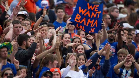 """We Want Bama"" sign shown on-screen"
