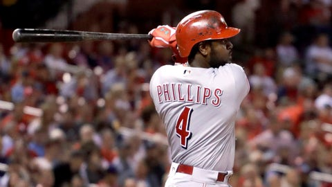 Cincinnati Reds' Brandon Phillips watches his sacrifice fly that scored Eugenio Suarez during the third inning of a baseball game against the St. Louis Cardinals on Tuesday, Sept. 27, 2016, in St. Louis. (AP Photo/Jeff Roberson)