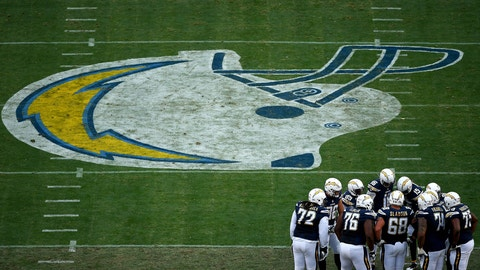 SAN DIEGO, CA - JANUARY 01: Th offense of the San Diego Chargers in huddle against the Kansas City Chiefs en route to the Chargers 37-27 loss to the Chiefs during the 1st half of a game at Qualcomm Stadium on January 1, 2017 in San Diego, California. (Photo by Donald Miralle/Getty Images)