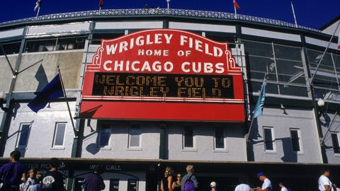 CHICAGO - AUGUST 22:  Exterior view of Wrigley Field as fans stream into the ballpark for the Chicago Cubs home game with Florida Marlins at Wrigley Field on August 22, 1995 in Chicago, Illinois.  The Marlins won 8-6.  (Photo by Jonathan Daniel/Getty Images)