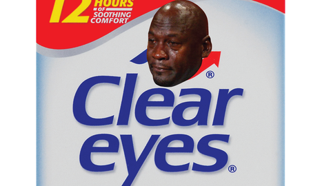 Crying Jordan tear drops ad