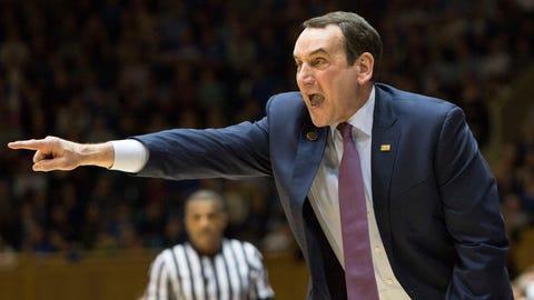 Duke head coach Mike Krzyzewski shouts to his team during the first half of an NCAA college basketball game against Georgia Tech in Durham, N.C., Wednesday, Jan. 4, 2017. (AP Photo/Ben McKeown)