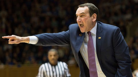 Duke head coach Mike Krzyzewski shouts to his team during the first half of an NCAA college basketball game against Georgia Tech in Durham, N.C., Wednesday, Jan. 4, 2017. (AP Photo/Ben McKeown)