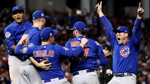 CLEVELAND, OH - NOVEMBER 02:  Anthony Rizzo #44 of the Chicago Cubs celebrate with his teammates after defeating the Cleveland Indians 8-7 in Game Seven of the 2016 World Series at Progressive Field on November 2, 2016 in Cleveland, Ohio. The Cubs win their first World Series in 108 years.  (Photo by Ezra Shaw/Getty Images)