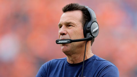 Denver Broncos head coach Gary Kubiak stands on the sidelines during the second half of an NFL football game against the Atlanta Falcons, Sunday, Oct. 9, 2016, in Denver. (AP Photo/Jack Dempsey)