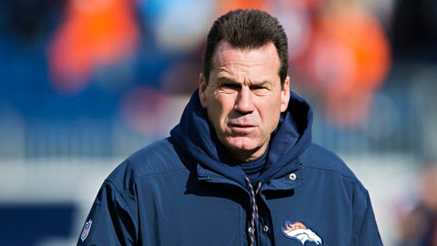 NASHVILLE, TN - DECEMBER 11:  Head Coach Gary Kubiak of the Denver Broncos watches his team warming up before a game against the Tennessee Titans at Nissan Stadium on December 11, 2016 in Nashville, Tennessee.  The Titans defeated the Broncos 13-10.  (Photo by Wesley Hitt/Getty Images)
