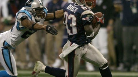 Brady hits Deion Branch for a 17-yard gain to set up Adam Vinatieri's game-winning field (SB XXXVIII vs. Panthers)