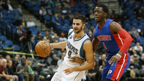MINNEAPOLIS, MN -  NOVEMBER 20:  Ricky Rubio #9 of the Minnesota Timberwolves handles the ball against Reggie Jackson #1 of the Detroit Pistons on November 20, 2015 at Target Center in Minneapolis, Minnesota. NOTE TO USER: User expressly acknowledges and agrees that, by downloading and or using this Photograph, user is consenting to the terms and conditions of the Getty Images License Agreement. Mandatory Copyright Notice: Copyright 2015 NBAE (Photo by Jordan Johnson/NBAE via Getty Images)