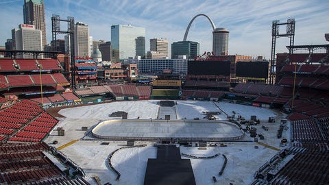 ST. LOUIS, MO - DECEMBER 21: General view of Busch Stadium during buildout for the 2017 Winter Classic on December 21, 2016 in St. Louis, Missouri. (Photo by Scott Rovak/NHLI via Getty Images)