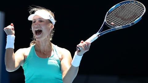 MELBOURNE, AUSTRALIA - JANUARY 21:  Ekaterina Makarova of Russia celebrates winning her third round match against Dominika Cibulkova of Slovakia on day six of the 2017 Australian Open at Melbourne Park on January 21, 2017 in Melbourne, Australia.  (Photo by Scott Barbour/Getty Images)