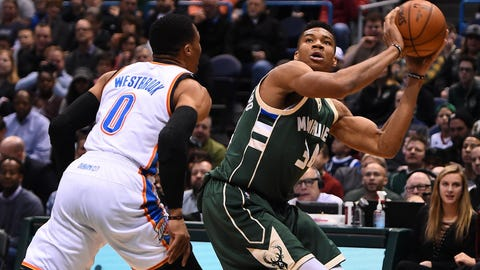National Basketball Association wrap: Thunder coast past Bucks in matchup of MVP favorites