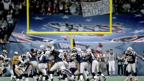4. Super Bowl XXXVI: New England Patriots (+14) over St. Louis Rams, 20-17
