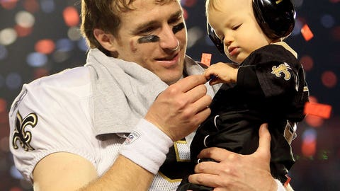 Drew Brees and son Braylen (Super Bowl XLIV)