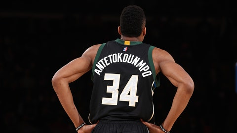 NEW YORK, NY - JANUARY 4: Giannis Antetokounmpo #34 of the Milwaukee Bucks is seen during the game against the New York Knicks on January 4, 2017 at Madison Square Garden in New York, NY. NOTE TO USER: User expressly acknowledges and agrees that, by downloading and or using this photograph, User is consenting to the terms and conditions of the Getty Images License Agreement. Mandatory Copyright Notice: Copyright 2017 NBAE  (Photo by Nathaniel S. Butler/NBAE via Getty Images)