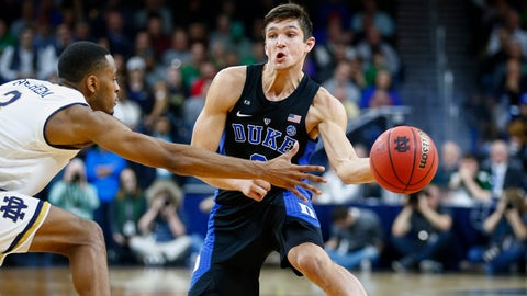 SOUTH BEND, IN - JANUARY 30: Grayson Allen #3 of the Duke Blue Devils passes the ball around V.J. Beachem #3 of the Notre Dame Fighting Irish at Purcell Pavilion on January 30, 2017 in South Bend, Indiana.  (Photo by Michael Hickey/Getty Images)