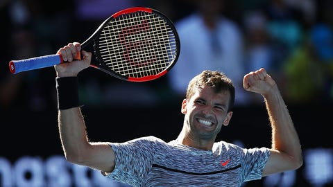 MELBOURNE, AUSTRALIA - JANUARY 25:  Grigor Dimitrov of Bulgaria celebrates winning his quarterfinal match against David Goffin of Belgium on day 10 of the 2017 Australian Open at Melbourne Park on January 25, 2017 in Melbourne, Australia.  (Photo by Clive Brunskill/Getty Images)