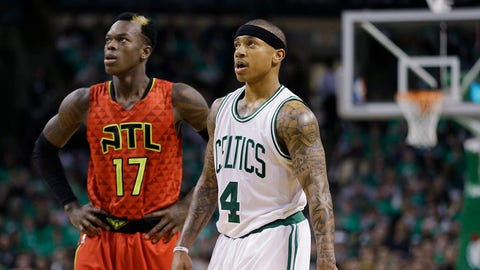 Atlanta Hawks guard Dennis Schroder (17) and Boston Celtics guard Isaiah Thomas (4) during the third quarter in Game 6 of a first-round NBA basketball playoff series Thursday, April 28, 2016, in Boston. The Hawks won 104-92 to win the series 4-2. (AP Photo/Elise Amendola)