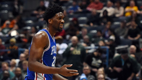 MILWAUKEE, WI - JANUARY 16:  Joel Embiid #21 of the Philadelphia 76ers reacts to an officials call during the second half of a game against the Milwaukee Bucks at BMO Harris Bradley Center on January 16, 2017 in Milwaukee, Wisconsin.  NOTE TO USER: User expressly acknowledges and agrees that, by downloading and or using this photograph, User is consenting to the terms and conditions of the Getty Images License Agreement.  (Photo by Stacy Revere/Getty Images)