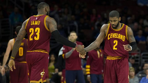 PHILADELPHIA, PA - NOVEMBER 27: LeBron James #23 of the Cleveland Cavaliers celebrates with Kyrie Irving #2 against the Philadelphia 76ers at Wells Fargo Center on November 27, 2016 in Philadelphia, Pennsylvania. NOTE TO USER: User expressly acknowledges and agrees that, by downloading and or using this photograph, User is consenting to the terms and conditions of the Getty Images License Agreement. (Photo by Mitchell Leff/Getty Images)