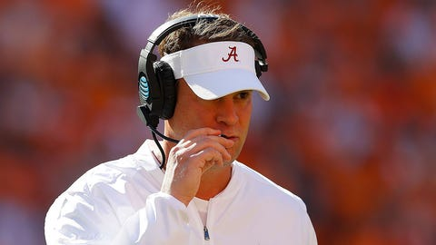 KNOXVILLE, TN - OCTOBER 15:  Offensive coordinator Lane Kiffin of the Alabama Crimson Tide looks on during the game against the Tennessee Volunteers at Neyland Stadium on October 15, 2016 in Knoxville, Tennessee.  (Photo by Kevin C. Cox/Getty Images)