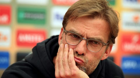 Liverpool manager Jurgen Klopp  ponders a question during a press conference at Liverpool's training ground in Liverpool, England Wednesday May 4, 2016. Liverpool will play a second leg Europa Cup semifinal match against Spain's Villareal on Thursday in Liverpool. (Mike Egerton/PA via AP) UNITED KINGDOM OUT  NO SALES NO ARCHIVE