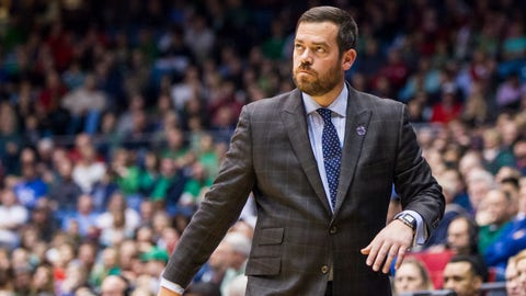 March 17, 2015: Manhattan Jaspers head coach Steve Masiello looks at the scoreboard during an NCAA Division I men's basketball first round tournament game between the Hampton Pirates and the Manhattan Jaspers played at the University of Dayton Arena in Dayton, Ohio. Hampton defeated Manhattan 74-64. (Photo by Scott W. Grau/Icon Sportswire/Corbis via Getty Images)