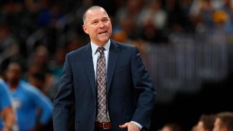 Denver Nuggets head coach Michael Malone in the second half of an NBA basketball game Friday, Dec. 23, 2016, in Denver. The Hawks won 109-108. (AP Photo/David Zalubowski)