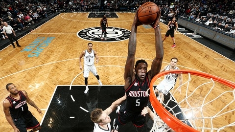 BROOKLYN, NY - JANUARY 15: Montrezl Harrell #5 of the Houston Rockets goes up for a dunk against the Brooklyn Nets on January 15, 2017 at Barclays Center in Brooklyn, New York. NOTE TO USER: User expressly acknowledges and agrees that, by downloading and or using this Photograph, user is consenting to the terms and conditions of the Getty Images License Agreement. Mandatory Copyright Notice: Copyright 2017 NBAE (Photo by Nathaniel S. Butler/NBAE via Getty Images)