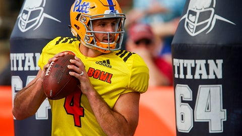 Pittsburgh quarterback Nate Peterman (4) runs a drill during practice for Saturday's Senior Bowl college football game, Wednesday, Jan. 25, 2017, in Mobile, Ala. (AP Photo/Butch Dill)
