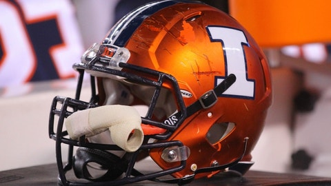 Nov 28, 2015; Chicago, IL, USA; A general shot of a Illinois Fighting Illini helmet during the second half against the Northwestern Wildcats at Soldier Field. Northwestern won 24-14. Mandatory Credit: Dennis Wierzbicki-USA TODAY Sports
