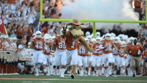 Sep 12, 2015; Austin, TX, USA; Texas Longhorns mascot Hook 'Em leads the team onto the field prior to kick off against the Rice Owls at Darrell K Royal-Texas Memorial Stadium. Texas beat Rice 42-28. Mandatory Credit: Brendan Maloney-USA TODAY Sports