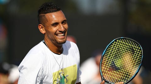 MELBOURNE, AUSTRALIA - JANUARY 17:  Nick Kyrgios of Australia smiles during a practice session on day two of the 2017 Australian Open at Melbourne Park on January 17, 2017 in Melbourne, Australia.  (Photo by Cameron Spencer/Getty Images)