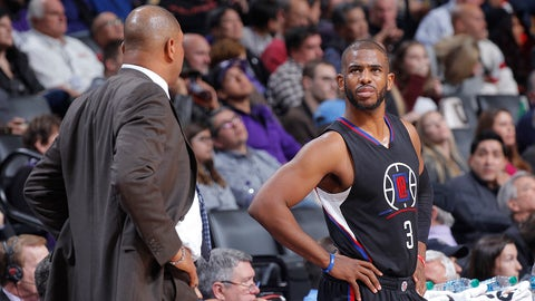 SACRAMENTO, CA - JANUARY 6: Chris Paul #3 of the Los Angeles Clippers looks on during the game against the Sacramento Kings on January 6, 2017 at Golden 1 Center in Sacramento, California. NOTE TO USER: User expressly acknowledges and agrees that, by downloading and or using this photograph, User is consenting to the terms and conditions of the Getty Images Agreement. Mandatory Copyright Notice: Copyright 2017 NBAE (Photo by Rocky Widner/NBAE via Getty Images)