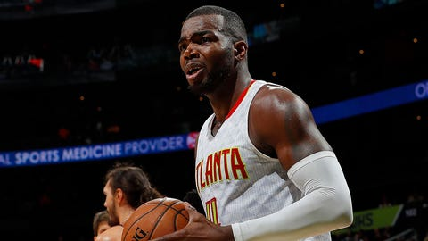ATLANTA, GA - DECEMBER 05:  Paul Millsap #4 of the Atlanta Hawks reacts to the referees during the game against the Oklahoma City Thunder at Philips Arena on December 5, 2016 in Atlanta, Georgia.  NOTE TO USER User expressly acknowledges and agrees that, by downloading and or using this photograph, user is consenting to the terms and conditions of the Getty Images License Agreement.  (Photo by Kevin C. Cox/Getty Images)