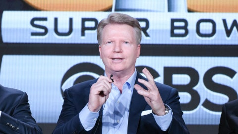 """Sportscasters James Brown, from left, Phil Simms and Jack Whitaker participate in the """"CBS Sports"""" panel at the CBS 2016 Winter TCA on Tuesday, Jan. 12, 2016, in Pasadena, Calif. (Photo by Richard Shotwell/In vision/AP)"""