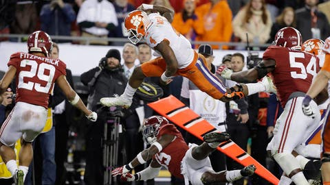 Clemson's Deshaun Watson is stopped near the goal line during the second half of the NCAA college football playoff championship game against Alabama Tuesday, Jan. 10, 2017, in Tampa, Fla. (AP Photo/Chris O'Meara)