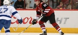 Fischer scores first NHL goal in first game with Coyotes