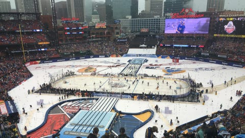 Players take the ice for warmups