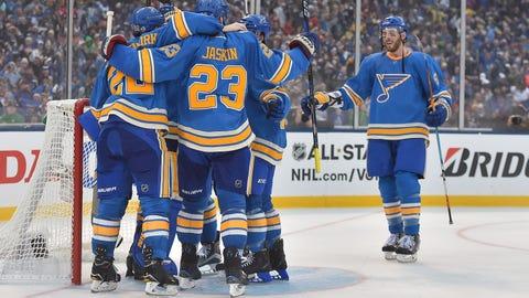 Blues celebrate 4-1 win