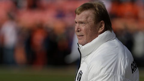 Oakland Raiders owner Mark Davis stands on the field during warmups before an NFL football game against the Denver Broncos, Sunday, Jan. 1, 2017, in Denver. (AP Photo/Joe Mahoney)