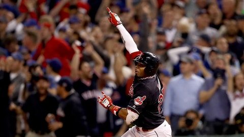 CLEVELAND, OH - NOVEMBER 02:  Rajai Davis #20 of the Cleveland Indians celebrates as he runs the bases after hitting a two-run home run during the eighth inning to tie the game 6-6 against the Chicago Cubs in Game Seven of the 2016 World Series at Progressive Field on November 2, 2016 in Cleveland, Ohio.  (Photo by Elsa/Getty Images)