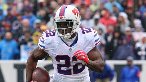 Buffalo Bills running back Reggie Bush (22) runs against the New England Patriots during the first half of an NFL football game Sunday, Oct. 30, 2016, in Orchard Park, N.Y. (AP Photo/Bill Wippert)