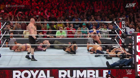 Brock Lesnar enters at No. 27, annihilates everyone in the ring