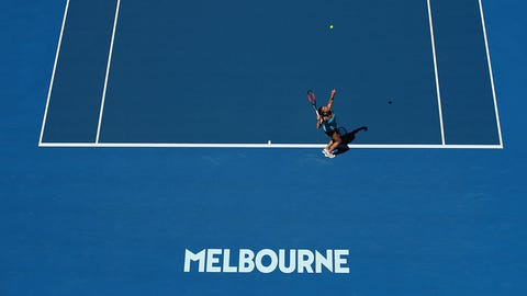 MELBOURNE, AUSTRALIA - JANUARY 16:  Simona Halep of Romania serves in her first round match against Shelby Rogers of the Uniuted States on day one of the 2017 Australian Open at Melbourne Park on January 16, 2017 in Melbourne, Australia.  (Photo by Cameron Spencer/Getty Images)