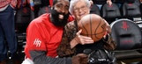 James Harden gives game ball to fan for her 100th birthday